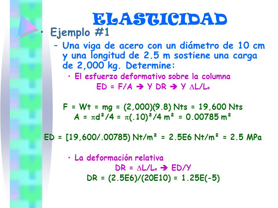 ED = [19,600/.00785) Nt/m² = 2.5E6 Nt/m² = 2.5 MPa